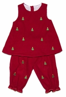 Anavini Infant / Toddler Girls Red Corduroy / Green Embroidery Christmas Trees Pantaloons Set