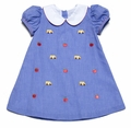 Anavini Infant / Toddler Girls Royal Blue Gingham Embroidery School Bus Float Dress