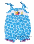 Anavini Infant / Toddler Girls Turquoise Smocked Noah's Ark Sun Bubble with Ties
