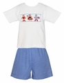 Anavini Toddler Boys Blue Check Shorts with Smocked Super Hero Shirt