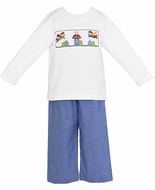 Anavini Toddler Boys Blue Gingham Pants with Smocked Super Hero Shirt