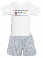 Anavini Toddler Boys Blue / Red / Green Plaid Shorts with Smocked Baseball Shirt