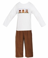 Anavini Toddler Boys Camel Brown Cord Pants with Smocked Puppy Dogs Shirt