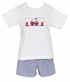 Anavini Toddler Boys Navy Blue Seersucker Gingham Shorts with Smocked Firetruck Shirt