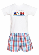 Anavini Toddler Boys Red / Blue Plaid Shorts with Smocked Trucks Shirt