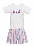 Anavini Toddler Boys Red / Blue Striped Shorts with Smocked Sailboat Shirt