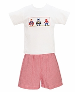 Anavini Toddler Boys Smocked Super Heroes Shirt with Red Seersucker Shorts