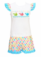 Anavini Toddler Girls Multi Color Polka Dots Shorts with Smocked Whales Ruffle Top