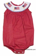 Anavini Velani Baby / Toddler Girls Red with Dots Smocked American Flag Bubble