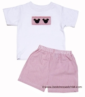Anavini Velani Boys Red Striped Seersucker Shorts with Smocked Mouse Ears Shirt
