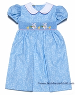 Anavini Velani Girls Blue Dots Smocked Easter Bunnies Carrot Dress with Collar