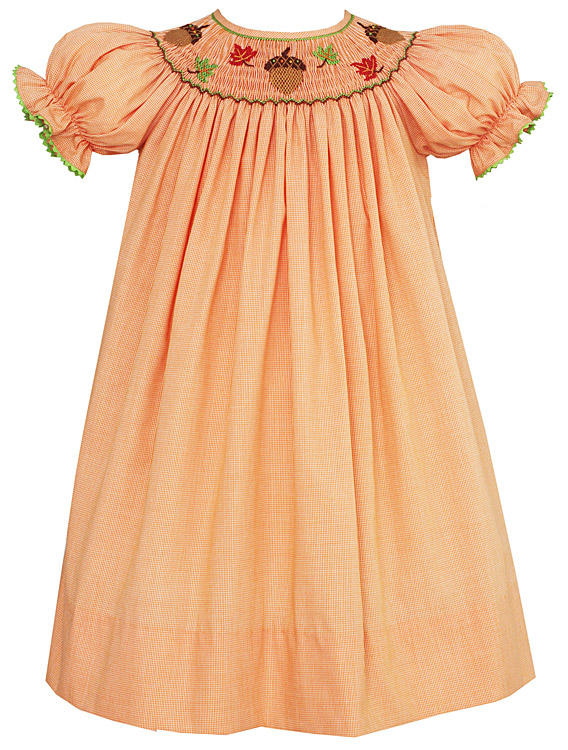 Smocked Fall Dresses Girls Anavini Velani Girls Orange