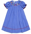 Anavini Velani Girls Periwinkle Blue Smocked School Pencils Dress