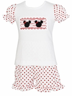 Anavini Velani Girls Red Polka Dot Ruffle Shorts with Smocked Mouse Ears Top