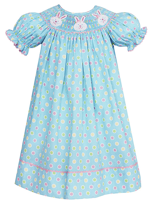 Anavini Velani Bishop Dress Easter Bunny Faces Turquoise