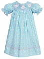 Anavini Velani Girls Turquoise Polka Dot Smocked Easter Bunny Faces Bishop Dress