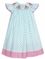 Anavini Velani Girls Turquoise / White Dots Smocked Pink Watermelons Dress