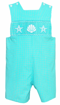 Anavini Velani Infant / Toddler Boys Aqua Gingham Smocked Seashells & Starfish Shortall