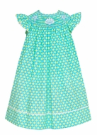 Anavini Velani Infant / Toddler Girls Aqua / Green Dots Smocked Seashells & Starfish Dress