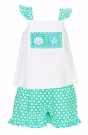 Anavini Velani Toddler Girls Aqua / Lime Dots Shorts with Smocked Seashells & Starfish Top