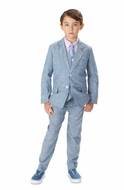 Andy & Evan Boys Blue Chambray Suit - Blazer and Pants Outfit - Two Piece Set