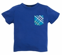 Andy & Evan Boys Turquoise Blue Tee Shirt with Plaid Pocket
