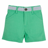 Andy & Evan Boys Twill Shorts with Faux Belt - Green with Blue