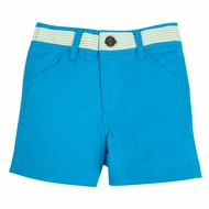 Andy & Evan Boys Twill Shorts with Faux Belt - Teal with Aqua