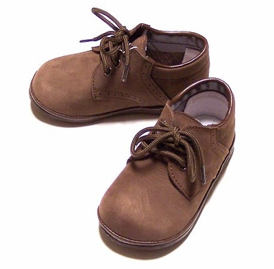 Amour Angel Baby Boys Brown Nubuck Dress Shoes