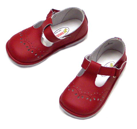 Angel Baby Girl's Red Leather T-Strap Shoes