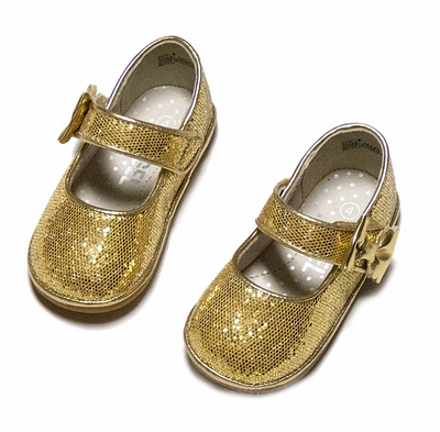 Angel Baby Toddler Girls Gold Glitter Mary Jane Shoes With Bow