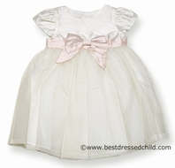 Baby Biscotti Girls Fairest of All Ivory Silk Dress with Pink Sash Bow