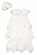 Baby Biscotti infant Girls Antique White Gown with Silk Flowers & Bonnet