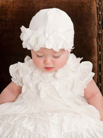 Baby Biscotti Infant Girls Antique White Gown With Silk