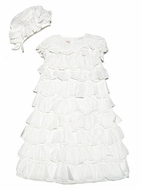 Baby Biscotti Infant Girls Antique White Voile Tiers of Ruffles Christening Gown & Bonnet