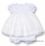 Baby Biscotti Infant Girls Beautiful White English Eyelet Dress with Bloomers