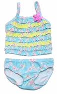 Baby Biscotti Infant Girls Blue Floral Little Sprite Ruffle Tankini Bathing Suit