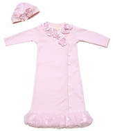 Baby Biscotti Infant Girls Dressy Flower Gown with Hat - Pink