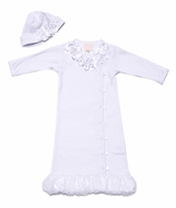 Baby Biscotti Infant Girls Dressy Flower Gown with Hat - White