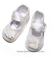 Baby Biscotti Infant Girls Dressy White Silk Christening Mary Janes Shoes with Rose