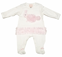 Baby Biscotti Infant Girls Ivory Footie - Pink Fluffy Bunny