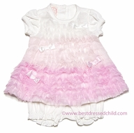 Baby Biscotti Infant Girls Ivory / Pink Feeling Frilly Netting Dress with Bloomers