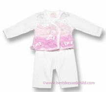 Baby Biscotti Infant Girls Ivory / Pink Feeling Frilly Ruffled Pants Set