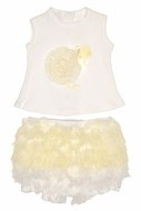 Baby Biscotti Infant Girls Ivory Ruffle Bloomers Set - Fluffy Yellow Easter Chick