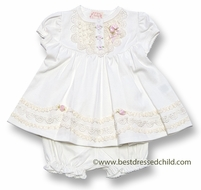 Baby Biscotti Infant Girls Lace Lullaby Ivory Dress with Bloomers