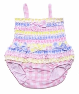 Baby Biscotti Infant Girls Little Picnic Pink / Pastels Gingham Ruffle Bubble Swimsuit