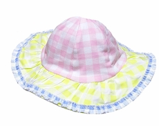 Baby Biscotti Infant Girls Little Picnic Pink / Pastels Gingham Sun Hat