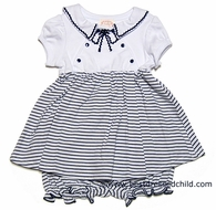 Baby Biscotti Infant Girls Navy Blue / White Striped Petit Bateau Nautical Dress with Bloomers