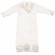 Baby Biscotti Infant Girls Off White Rose Crush Gown