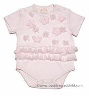 Baby Biscotti Infant Girls Sweet Pink Butterfly Baby Ruffle Onesie with Butterflies